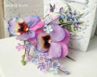 clip pansy,Hair Accessories, cold porcelain, flower hair, violet barette, bride Accessories, bridesmaid,Accessories pansy, violet flower
