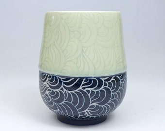 Porcelain Sgraffito Tumbler 8.5 ounces