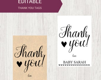 Printable Editable Custom Thank You Tags | Baby Shower Gift Tags | Calligraphy Gift Tag | Instant Download Baby Shower Printable OB14