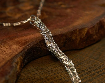 Silver Branch Necklace, Branch Jewelry, Tree Pendant Necklace, Twig Necklace, Twig Pendant, Twig Jewelry, Stick Jewelry, Sprig Jewelry, Tree