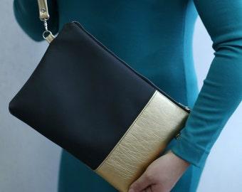 Black Gold Clutch purse Zipper pouch Vegan leather Handbags - Glam014