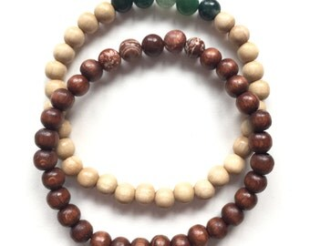 Bracelet in wooden Beads with gemstones