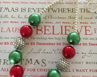 Pearlized Red, Green and Silver or Gold Holiday Bubblegum Chunky Necklace