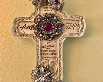Inspirational Purple Silver Jeweled Cross wall hanging