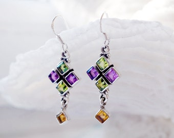 Personalized gifts for bridesmaids long earrings, Birthday Gifts for sister, February birthstone August gemstone earrings amethyst, peridot