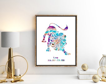 Watercolor  Astrology Art, Leo Print, Leo Sign ,Leo Zodiac, Leo Wall Art, Leo Poster, Gifts for Leo  , Archival Art Print