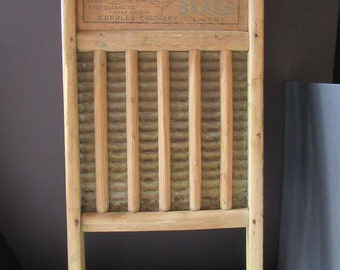 Vintage Wooden Washboard, Vintage Wooden Washboard Brass Insert, Rustic Farmhouse Decor, Cupples Washboard