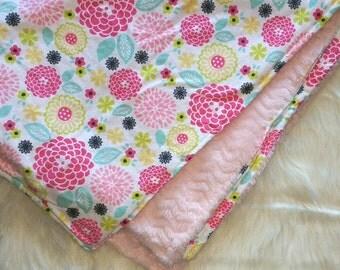 Flower baby blanket, Girl baby blanket, Baby blanket, Plush fleece baby blanket, Minky baby blanket