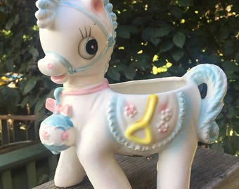 Vintage 1950's Relpo Ceramic Nursery Pony Planter