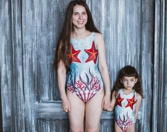 Mother daughter swimwear Matching swimsuit One piece swimsuit Girls swimsuit Bathing suits Women swim wear, Retro modest swimwear STARFISHES