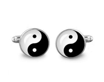 Yin Yang Cuff Links Zen Cuff Links 16mm Cufflinks Gift for Men Groomsmen Novelty Cuff links Fandom Jewelry