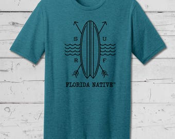 Florida Native Surf Tee, Summer Beach Wear, Summer Collection, Soft comfy mens and ladies tees and tanks.