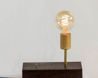 Modern Wood and Brass Edison Lamp - Wenge Accent Light with Vintage Fabric Cord and Brass Switch