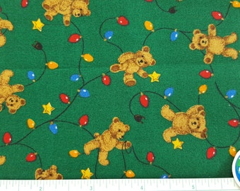 """Christmas Fabric, Teddi Bears, Christmas lights, Green fabric, 100% Cotton, Quilting fabric, OOP, Remnant Only 14"""" x 22"""""""