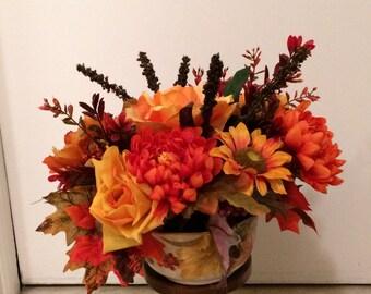 Thanksgiving Silk Centerpiece, Thanksgiving Silk Flowers, Autumn SIlk Centerpiece, Fall Silk Flowers, Autumn Silk Flowers, Mixed Silk Floral