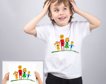 Custom Shirt for Kids Transfer a Child's Drawing to a T-shirt Customized Shirt Personalized Shirt Custom T Shirt Custom Clothing PA1166