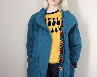 Vintage Teal/Blue Long Rain Coat Jacket  with Aztec Lining - Medium