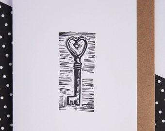 housewarming card, key card, greeting card, heart key, valentines card, love card, moving card, new home card,