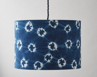 Indigo dyed Shibori lampshade - handmade lamp shade. Hand dyed indigo and white linen. Shibori homewares. Hitta bird pattern. MADE TO ORDER