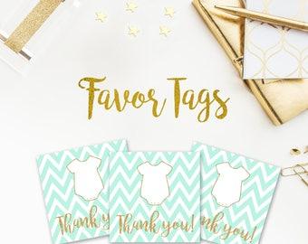 Tiffany Blue Chevron Favor Tags, Tiffany Blue, Gold Glitter,  Onesie, Body Suit, Baby Shower, Thank You Tags, Chevron, printable, DIY, 024