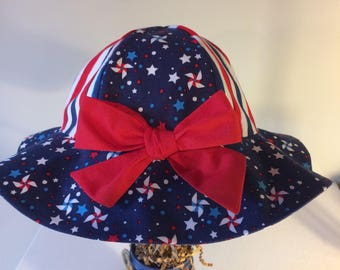 Baby toddler sun hat, patriotic hat, baby gift