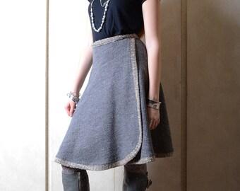 Vintage Koos van den Akker Grey Wrap Skirt