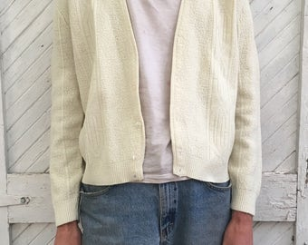 Vintage Off White Cardigan Mens and Womens