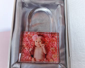 Personalised Photo Glass Padlock Gorgeous Gift