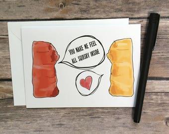 gummy bear card - cute candy card - i love you card - cute anniversary card - cute valentine card - cute romance card - funny food card