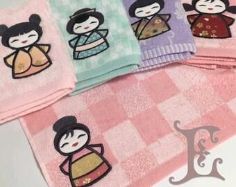 Graceful Geisha - Embroidered/Applique handkerchief
