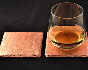 2 set glass coasters finished slate with sheet copper,