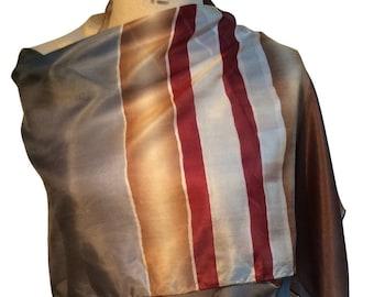 Brown and blue silk printed scarf