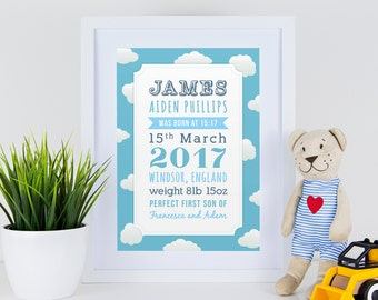 Personalised new baby boy typography birth print in blue with clouds for gift, nursery with or without frame