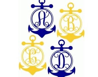 Anchor Monogram Decal, Yeti Decal, Nautical Decal, Monogram stickers