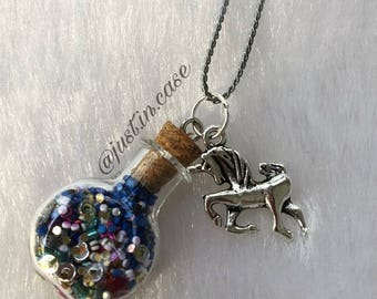 Glass bottle jewelry, vial jewelry, vial charm, vial necklace, glass bottle charm, unicorn jewelry, glass bottle necklace, vial pendant