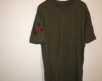 Olive Green Tee Embroidery Rose On Sleeve