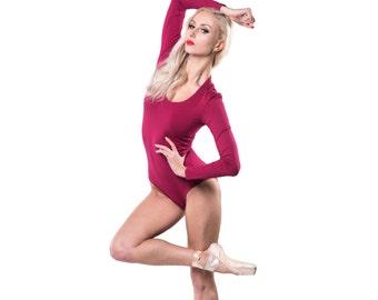 Women raspberry bodysuit - Stretchy bodysuit - Long sleeve bodysuit - Casual body blouse - Elegant bodysuit - Dancing bodysuit - GM10-12