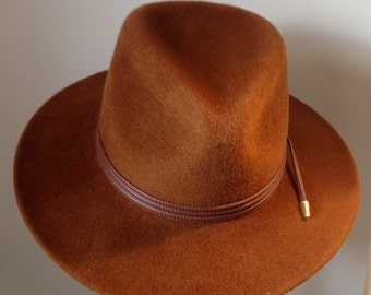 Handmade Brown Fedora with tripple faux leather trim