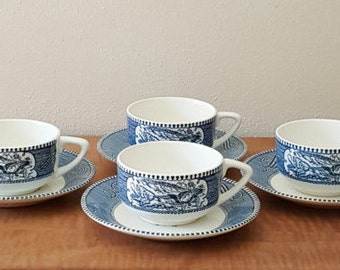 Vintage Currier and Ives~Homer Laughlin~Blue Currier and Ives set of 4 Royal China Cups and Saucers~Currier & Ives Ironstone~Antique Tea Cup