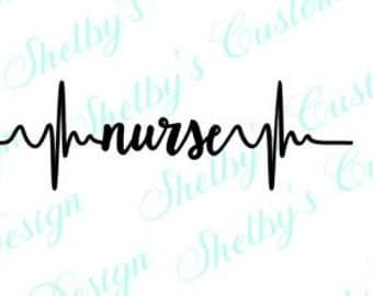 "2.5"" x 7"" Nurse Heatbeat Decal, Nurse Wall Art, Heartbeat Nurse Wall Stickers, Nurse Wall Art, Modern Wall Decals, Vinyl Wall Decals"