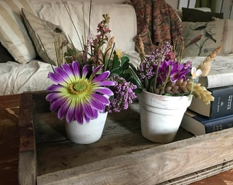 French country/ shabby chic  flower arrangements
