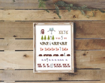 Woodland Nursery Numbers Poster | Instant Download