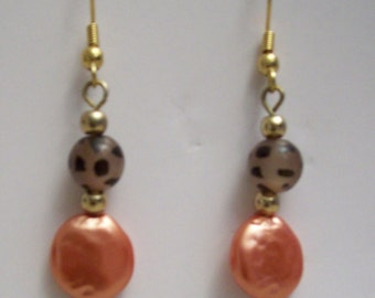 Copper & Brown Bead Earrings,Jewelry,Earrings,Dangle,Drop,Two Tone Color,Gifts for Her,Gifts,Gift Ideas,Birthdays,Holidays,Women,Anniversary