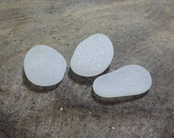 "Genuine Perfectly smoothed flawless White Round Sea Glass 3 pieces-0.9-1""-Rare Sea Glass-Pendant size Sea Glass#445#"
