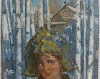 Original painting, Oil on cardboard, Winter, Arkady Rusin, European Fine Art