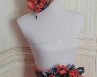 Belt with flowers, Orange belt, belt, summer belt weddings, belt, belt, belt, woman wedding accessory orange wedding flowers.