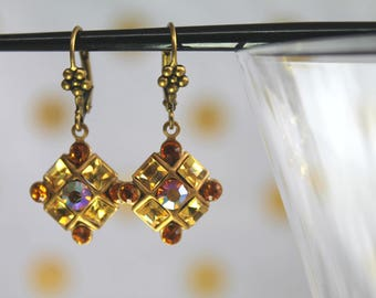 Golden Checkerboard Swarovski Earings