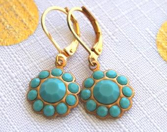 Turquoise Swarovski Crystal Rhinestone Flower Drops Dangles Earings