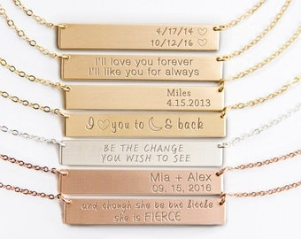 Personalized Bar Necklace, Engraved Bar Necklace, Initial Necklace in Silver, Gold Fill, Rose Gold Fill, Custom Name Plate, Quotes B635h