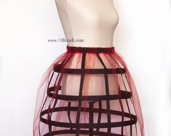 Red Tulle Black Cage Skirt Sz S-L